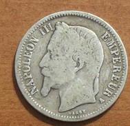 1867 - France - 1 FRANC, NAPOLEON III, (A), Tête Laurée, Argent, Silver, KM 806.1, Gad 463 - France