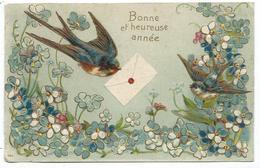 CPA Fantaisie - BONNE ET HEUREUSE ANNEE  - Hirondelle Messagere, Mésange Et Myosotis - En Relief - Circulé 1907 - Nouvel An