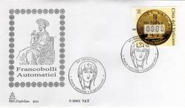 Vaticano 2001 FDC Capitolium Francobolli Automatici Automatic Stamps Monete D'oro San Pietro Saint Peter - Monete