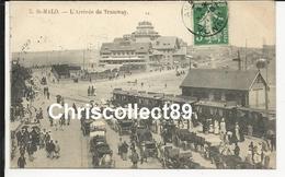 Carte Postale : St Malo - L'Arrivée Du Tramway - Saint Malo