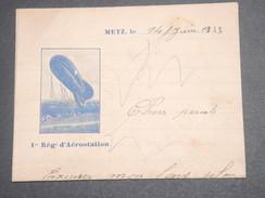 VIEUX PAPIERS / MILITARIA - Lettre à Entête Du 1er Régiment D 'Aérostation En 1933 - L 7183 - Documents