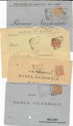 STORIA POSTALE REGNO - QUATTRO VALORI UMBERTO I°  SU FRONTESPIZI ANNULLI TONDO RIQUADRATI - 1878-00 Umberto I