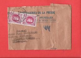 Houyoux En Paire Obl BRUXELLES 23 V 1937 Sur Manchon De Jurnal Vers ALLEMAGNE Bon Tarif ! - 1922-1927 Houyoux