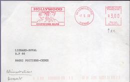 "Lettre 86 Lencloitre -7.3.00 EMA Rouge "" Hollywood Chewing Gum "" - EMA (Empreintes Machines à Affranchir)"
