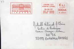 """Lettre Libourne CDIS Doumayne Gironde 06-06-02 EMA Rouge """" Ecole De Gendarmerie De Libourne """" - Marcophilie (Lettres)"""