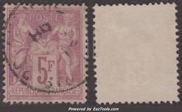 5Fr Sage Lilas-vif/lilas TB (Y&T N° 95f, Cote: 130€) - 1876-1898 Sage (Type II)