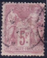 5Fr Sage Lilas-rose/lilas TB (Y&T N° 95a, Cote: 100€) - 1876-1898 Sage (Type II)