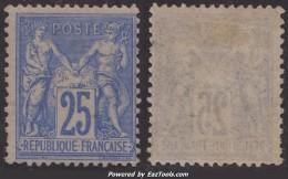 *RARE* 25c Sage Outremer Vif Neuf * TB (Y&T N° 78e , Cote  700€€) - 1876-1898 Sage (Type II)