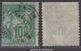*RARE* 10c Sage Vert Au Type II (N/U)  (Y&T N° 76, Cote  325€) - 1876-1898 Sage (Tipo II)