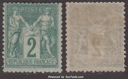 2c Sage  Type II Neuf * TB Nuance Foncée (Y&T N° 74, Cote  150€) - 1876-1898 Sage (Type II)