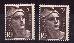 """1945 - Variétés """"3"""" Cassé Tp De Gauche Et """"3I"""" Au Lieu De """"3F"""" Tp De Droite - N° 715 Neuf ** - Marianne De Gandon - Variétés Et Curiosités"""