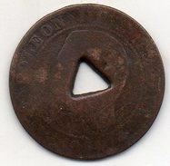 France - Jeton Pour Maison Close ? Monnaie Perforée 5 Centimes 1855 A Napoléon III Empereur - (Atelier : Paris) - Brothel Tokens