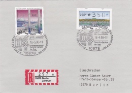 Germany Registered Cover Franked W/ATM Berlin Zentrum 1996 Berlin Grüsst Atlanta (T14-36) - Ete 1996: Atlanta