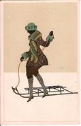 (sports D´hiver, Luge) Très élégante Lugeuse, Signée, Vers 1925, SUP. - Sports D'hiver