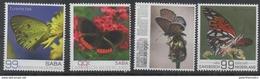 DUTCH CARIBBEAN,  SABA, 2017, MNH, BUTTERFLIES, 4v - Butterflies