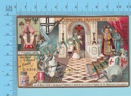 La Croisade - 5 Eme Croisade Frederic II Ceint La Couronne à L'église  -  Holy Card, Image Pieuse, Santini - 2 Scans - Imágenes Religiosas