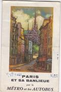 FRANCE PARIS METRO ET LES AUTOBUS LIGNES MAP  - SUBWAY - BUS STOP 1963 - Europe