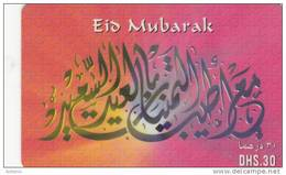 U.A.E. - Eid Mubarak, Etisalat Prepaid Card Dhs 30(reverse 2b), Used