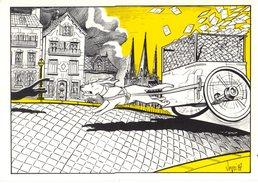 ATTELAGE DE CHIEN---RARE---illust. BERNARD VEYRI--tirage Limité 150 Ex--carte Personnelle--voir 2 Scans - Veyri, Bernard