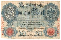 B 6)  Billet   Allemagne  20 Mark  1914   (Poids Ex.p Moins De 20 Gr) - [ 2] 1871-1918 : German Empire
