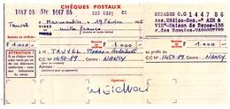CHEQUES. STRASBOURG (67) CHEQUES POSTAUX. POUR CENTRE C/C De NANCY. - Chèques & Chèques De Voyage
