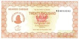 ZIMBABWE   20,000 Dollars   1/12/2003   Sign.5   P. 23e   UNC - Zimbabwe