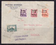 España 1938. Canarias. Carta De Las Palmas A Cadiz. Censura. - Marcas De Censura Nacional