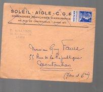 Marianne Decaris 20f Avec Vignette IMPERMEABLES AKYLON  Sur Enveloppe 1958 (F.1770) - Postmark Collection (Covers)