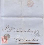 Año 1856 Edifil 48 4c Sello Isabel II Carta Matasellos Rejilla Y  Bilbao - 1850-68 Königreich: Isabella II.