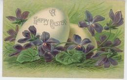 """PAQUES - Jolie Carte Fantaisie Oeufs Et Violettes """" A Happy Easter """" - Pâques"""