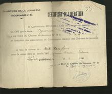 CHANTIERS DE LA JEUNESSE                GROUPEMENT 14 CERTIFICAT DE LIBERATION - Documents