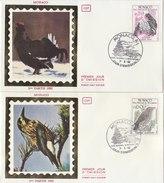 MONACO 1982 FDC Silk Vignet 6 Covers With Birds. - Birds