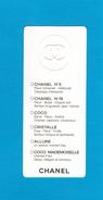 Cartes Parfumées  Carte CHANEL GAMME N°5 N°19 COCO CRISTALLE ALLURE COCO MADEMOISELLE   De CHANEL RECTO VERSO - Modernes (à Partir De 1961)