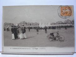 62 - HARDELOT PLAGE - LA PLAGE - ANIMEE - BICYCLETTES - 1921 - France