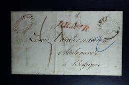Germany Complete Letter  Gevelsberg -> Audemarde Belgique 1857  PR 2er R  In Red - Vorphilatelie