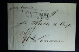 Germany Complete Letter  Stuttgart -> Tours -> Calais -> London 1840  Shilling + Pence Notted At Back - Germania