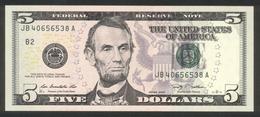 USA 2009, Federal Reserve Note, 5 $, Five Dollars - B = New York - JB40656538A - UNC - Erhaltung I - Federal Reserve (1928-...)
