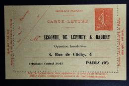France: Carte-Lettre Privees  Semeuse 50 C   Segondi De Lepiney & Baudry  Not Used  RRR - Postal Stamped Stationery
