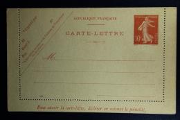 France: Carte-Lettre  Semeuse Camee  10 C.   Type E8  Ciffre Maigre Not Used   Date 644  Mi K 33 A - Enteros Postales