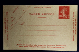 France: Carte-Lettre  Semeuse Camee  40 C.   Type P2 A Not Used   Date 621 Non Perforée Avec Gomme - Enteros Postales