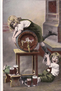 CPA Enfants Tonnelet Et Book De Bière Beer Bier Boisson Alcool Humour Fantaisie - Autres