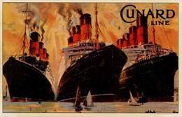 SHIPPING - MARINE ART POSTERS SERIES 1-23 No 10 - CUNARD LINE - MAURETANIA, BEREGARIA AND AQUITANIA Ship43 - Steamers