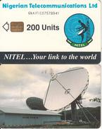 NIGERIA - Earth Station, Nigerian Telecom Ltd First Chip Issue 200 Units(6NAIFIC-letraset Writing), Chip Sie 37, Used - Nigeria
