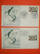 FRANCE 1963 - N°1395 Ski Nautique à Vichy Sur 2 Enveloppes Avec 1er Jour De Flamme.  Superbe - Water-skiing