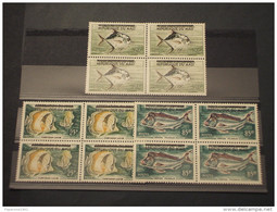 MALI - 1961 PESCI 3 VALORI, Soprast., In Quartine(blocks Of Four) - NUOVI(++) - Mali (1959-...)