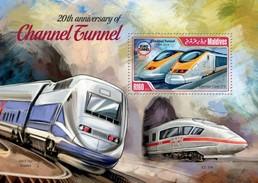 MALDIVES 2014 SHEET CHANNEL TUNNEL TRAINS TRENES TUNNEL SOUS LA MANCHE TUNEL DEL CANAL Mld14402b - Maldive (1965-...)