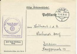 AK 0659  Postkarte ( Eilige Wehrmachtsache ) Aufforderung , Wehrbezirkskomando Znaim 11. Feb. 1939 - Allemagne