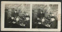 PHOTO STEREOSCOPIQUE FRANCAISE 14-18:LA CAVE DES TELEPHONISTES - 1914-18