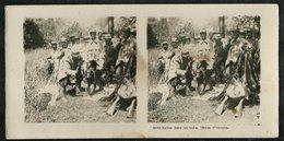 PHOTO STEREOSCOPIQUE FRANCAISE 14-18:HALTE DANS UN BOIS-CHIEN D'ECOUTE - 1914-18