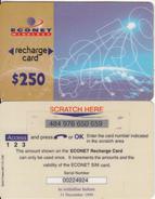 ZIMBABWE - Econet Recharge Card $250, Exp.date 31/12/99, Used - Zimbabwe